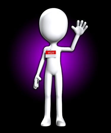faceless: Blank faceless figure with a Hello my name is badge. Stock Photo
