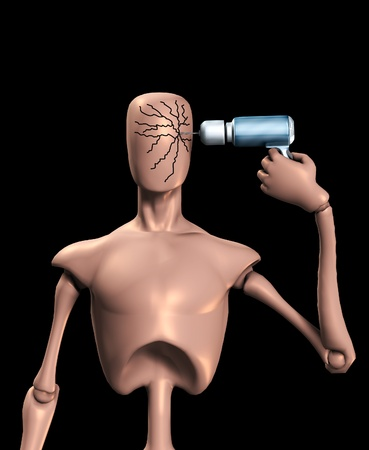 self harm: Conceptual image showing a faceless figure drilling and cracking its head.