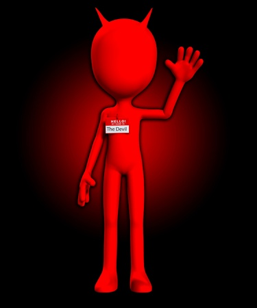 Funny photo showing the Devil with a Hello my name is badge. Stock Photo - 11737489