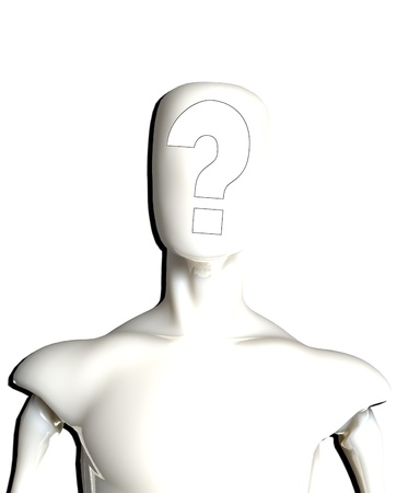 puzzlement: Blank faced figure with a question mark where the face should be.