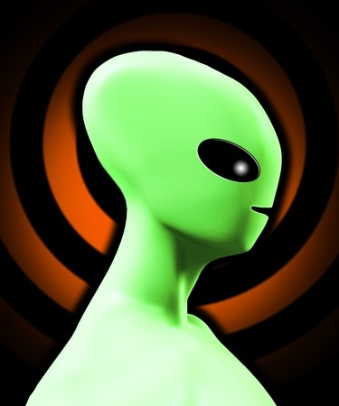 extra terrestrial: Simple side on profile of an alien being.