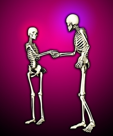 gestural: Pair of skeletons shaking hands when meeting each other. Stock Photo