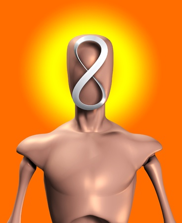 featureless: Blank faced figure with the an infinite Mobius strip