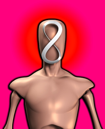 featureless: Blank faced figure with the an infinite Mobius strip.
