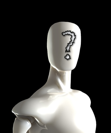 puzzlement: Faceless figure with a question mark on its face. Stock Photo