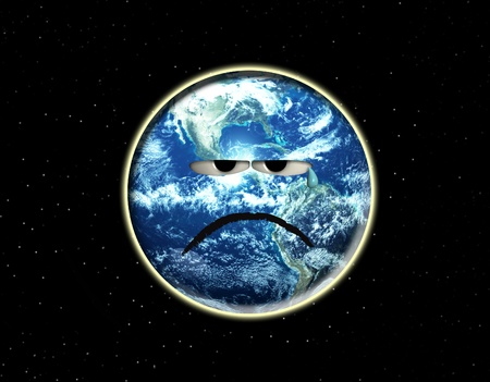 Concept image showing the Earth which is crying.  photo