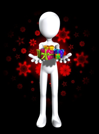 Blank faceless man holding some Christmas or birthday gifts. Stock Photo - 11737710