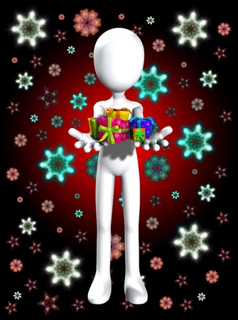 Blank faceless man holding some Christmas or birthday gifts. Stock Photo - 11737764