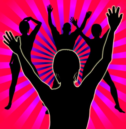 partying: Concept image showing a group of people partying and having fun. Stock Photo