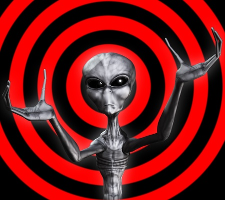 extra terrestrial: A grey Alien with its hands outreached. Stock Photo