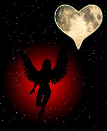 monotone holy: An angel with a heart shaped moon.