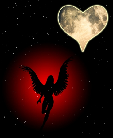 good heavens: An angel with a heart shaped moon.