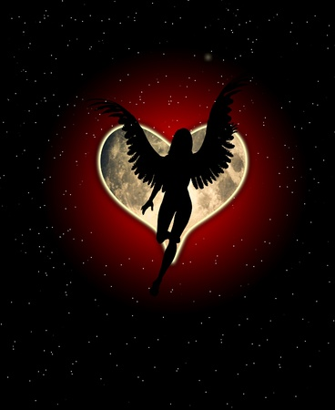 dark angel: An angel with a heart shaped moon.