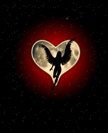 An angel with a heart shaped moon. Stock Photo - 12076512