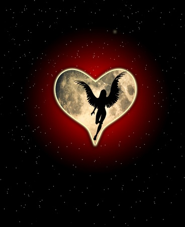An angel with a heart shaped moon.