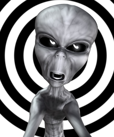 extra terrestrial: Angry looking alien of the common grey variety. Stock Photo