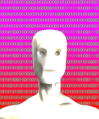 A Robot head with binary artificial intelligence. photo