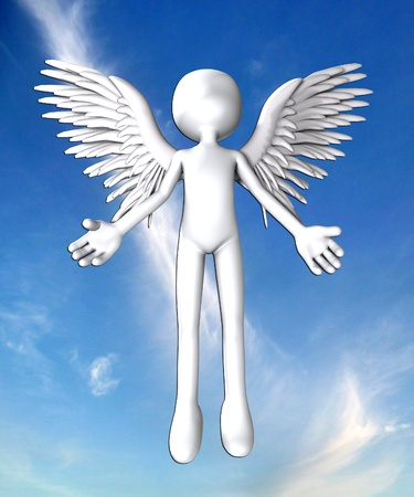 monotone holy: Blank faced angel for heavily concepts. Stock Photo