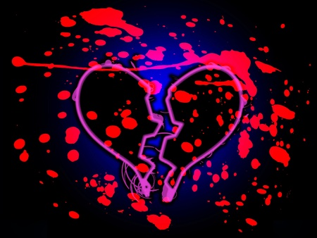 A broken heart that is stained with blood. photo
