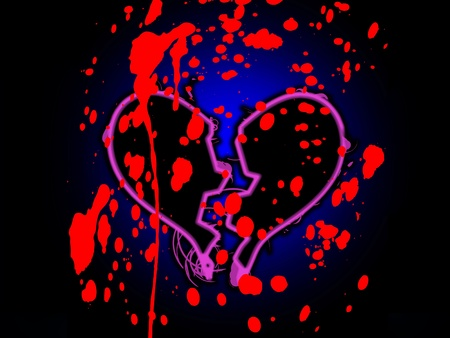 A broken heart that is stained with blood. Stock Photo - 12076398