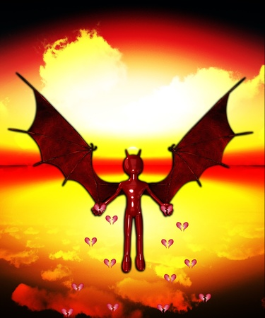 The Devil spreading lots of broken hearts. Stock Photo - 12074863