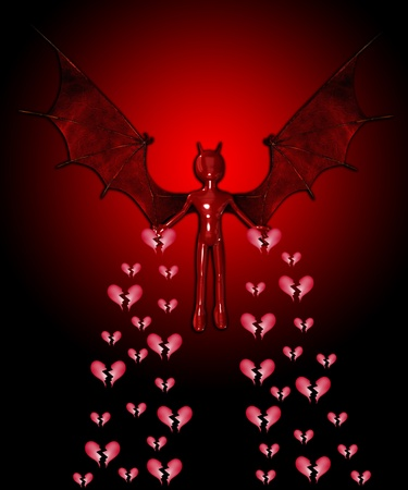 vile: The devil spreading sadness and broken hearts everywhere. Stock Photo
