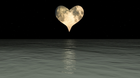 over the moon: A Heart shaped moon over the sea.