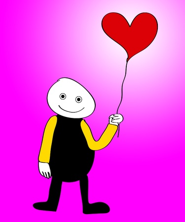 Cartoon figure holding a balloon in the shape of a heart.