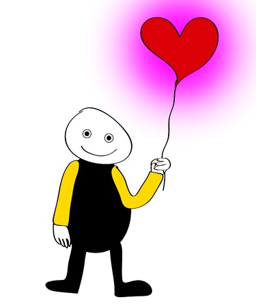jovial: Cartoon figure holding a balloon in the shape of a heart.