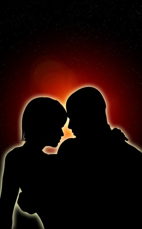 Pair of lovers silhouetted against a dark night. Stock Photo - 12076470