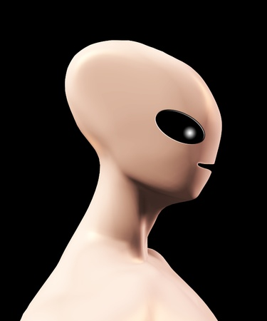 Side on profile of a simple alien form. Stock Photo - 12076251
