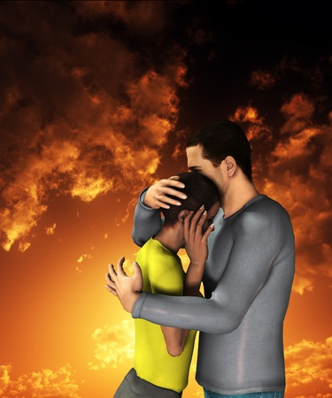 Man and women engaged in a sorrowful hug. Stock Photo - 12076376