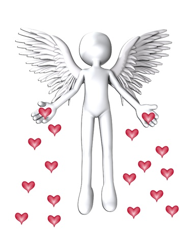 monotone holy: Angel that is spreading love hearts everywhere.
