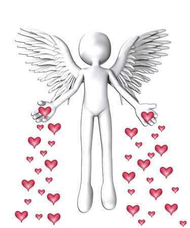 holy angel: Angel that is spreading love hearts everywhere.