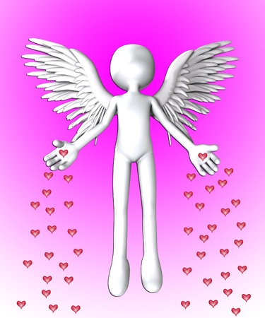 Angel that is spreading love hearts everywhere. Stock Photo - 12076364