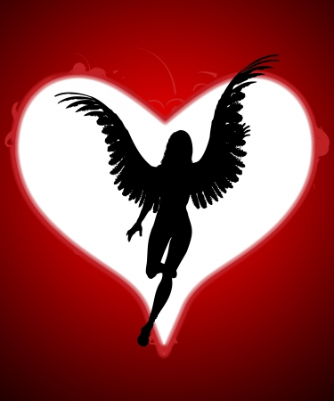 wing figure: An angel within a large love heart for valentines day