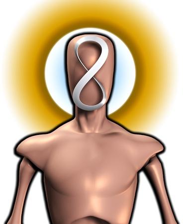 unendlich: Konzeptionelle Bild mit gesichtslosen Figur mit einem Symbol der Unendlichkeit. Lizenzfreie Bilder