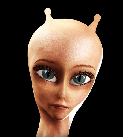 hoax: Close up of the face of an alien with antennae.