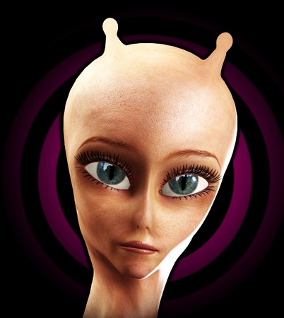 the antennae: Close up of the face of an alien with antennae.