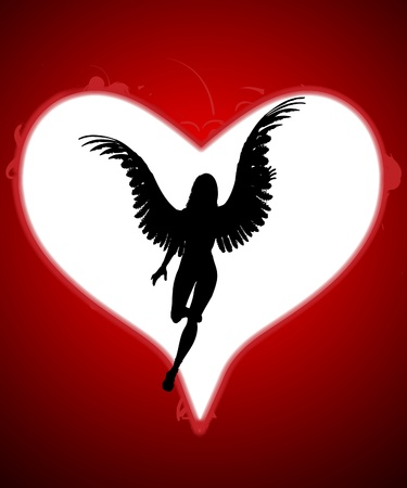 monotone holy: An angel within a large love heart for valentines day