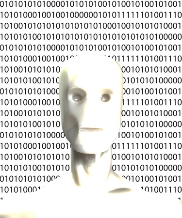 Robotic figure with a lot of binary numbers. photo