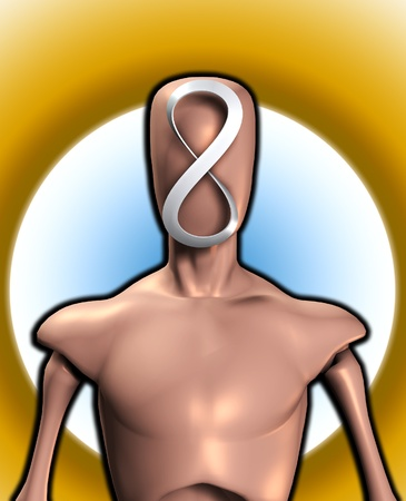 featureless: Conceptual image featuring  faceless figure with a infinity symbol.