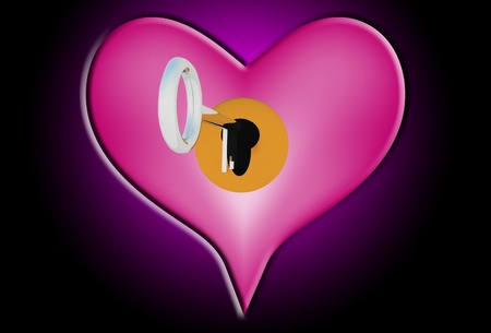 Heart with a key that is about to unlock it. Stock Photo - 12377317