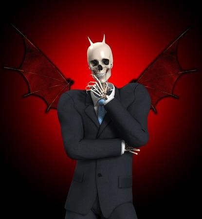 A very evil looking devil skeleton businessmen. photo