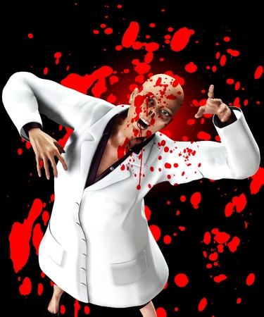 fester: Zombie nurse surrounded by blood for Halloween