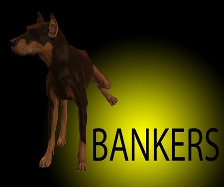 desprecio: Perro que est� demostrando su desprecio absoluto por los banqueros