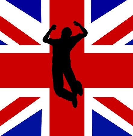 Man who is jumping for English patriotic joy   photo