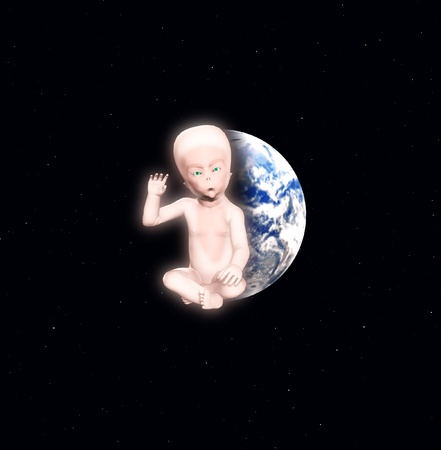 An alien star child against the Earth. Stock Photo - 12769560