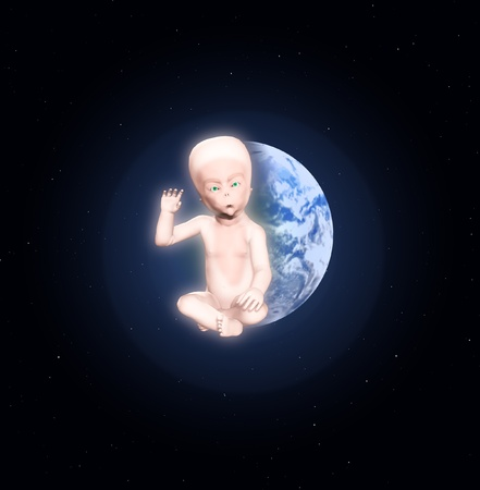 An alien star child against the Earth. Stock Photo - 12769565