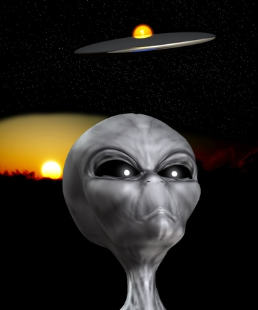 extra terrestrial: An Alien that is watching a UFO